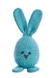 Cyan handmade stuffed animal bunny. Cyan handmade stuffed animal easter bunny royalty free stock photos