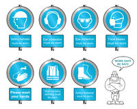 Cyan Health and safety signposts and text Stock Photography