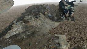 Cyan Krystaliczna czaszka w Jałowej ziemi zdjęcie wideo