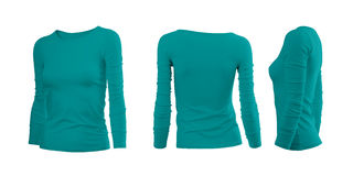 Cyan kvinnas T-tröja Royaltyfri Bild