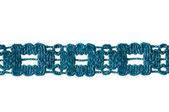 Cyan lace. Tape of blue lace isolated over white Royalty Free Stock Image