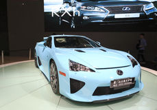 Cyan lexus lfa car. 2013 auto expo of western taiwan strait held in amoy city,china Stock Image