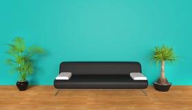 Cyan Living Room Stock Image