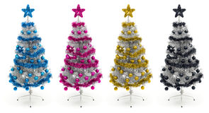 Cyan, magenta, yellow and black christmas trees Stock Photography