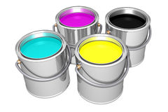 Cyan Magenta Yellow Black paint cans (3D). Cyan, Magenta, Yellow and Black paint cans isolated on white. 3D image Royalty Free Stock Photo