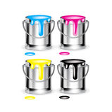 Cyan, magenta, yellow, black paint colors buckets isolated Stock Photo