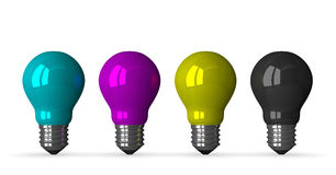 Cyan, magenta, yellow and black tungsten light bulbs, fron Stock Photo