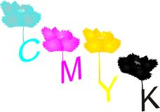 Cyan, Magenta, Yellow and Key colors.. Stock Photo