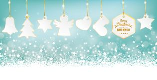 Cyan Merry Christmas Card Header Snowflakes Golden Stickers. Cyan christmas header with snow, golden stickers and stars on the bokeh background royalty free illustration
