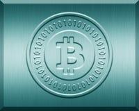 Cyan Metallic Bitcoin Plate. For print or web usage Stock Photography