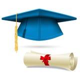 Cyan mortarboard and diploma - graduation cap. Cyan mortarboard and diploma - blue graduation cap Royalty Free Stock Photos