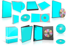 Cyan multimedia disks and boxes on white Royalty Free Stock Images