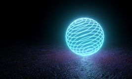 Cyan Neon Glowing Ring Ball. With Floor Reflection. Abstract Background. 3D Illustration vector illustration