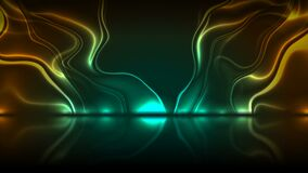 Cyan and orange neon glossy waves abstract tech motion background