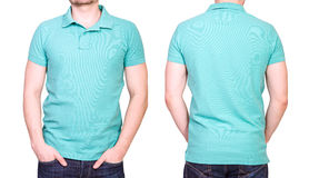 Cyan polo shirt on a young man template Royalty Free Stock Image