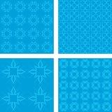 Cyan seamless pattern background set. Cyan abstract seamless vector pattern background set Royalty Free Stock Photo