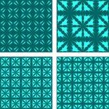 Cyan seamless pattern background set. Cyan abstract seamless vector pattern background set Royalty Free Stock Images