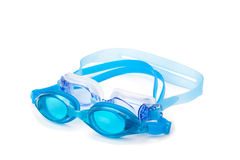 Cyan swimming goggles. Isolated on the white background stock photo