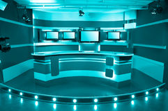Cyan television studio Royalty Free Stock Photo