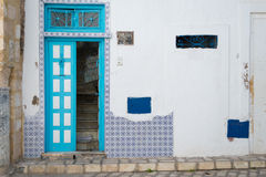 Cyan Tunisian Door. Sky Blue Front door to Traditional Tunisian Home Stock Photo