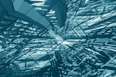 Cyan tunnel deconstruction Royalty Free Stock Photography