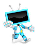 A Cyan TV Character and a boxing play. Create 3D Television Robo Stock Images