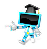 Cyan TV character are kindly guidance. Create 3D Television Robo Stock Images