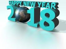 Cyan värld 2018 för lyckligt nytt år Stock Illustrationer