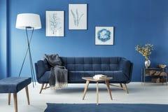 Cyan vardagsrum med soffan royaltyfri foto