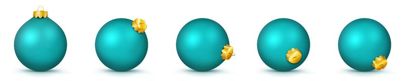 Christmas Balls Collection in Turquoise Color - Vector Panorama Bauble Set stock illustration