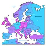 Cyan and violet map of Europe Stock Photography