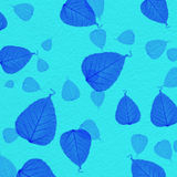 Cyan wall texture with blue leaf paint Stock Photos