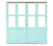 Cyan wooden door isolated on white background Stock Photos