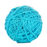 Cyan Yarn Ball. Isolated on white background stock photos