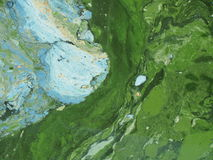 Cyanobacteria, algae - attack of colours. Attack of cyanobacteria. Water covered with a layer of colorful blooms. background Stock Photography