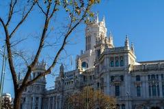 Cybele宫殿,以前宫殿通信在马德里,西班牙 目前市议会29的位子 12,2016 图库摄影