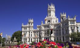 The Cybele Palace City Hall, and the fountain in Madrid royalty free stock images