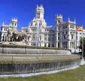 The Cybele Palace City Hall, and the fountain in Madrid stock images