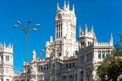 The Cybele Palace City Hall in Madrid, Spain. Copy space for text. royalty free stock image