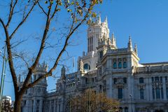 Cybele Palace, formerly the Palace of Communication in Madrid, Spain. Currently the seat of the City Council 29.12,2016 stock photography