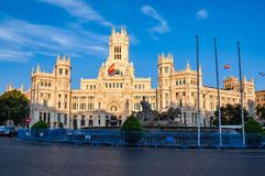 Cybele palace and fountain on Cibeles square at sunset, Madrid, Spain stock photo