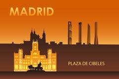 Cybele palace in the night Madrid. Madrid city landmarks at night illustration. Cybele palace royalty free illustration