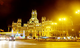 Cybele palace nighttime Madrid Spain royalty free stock photo