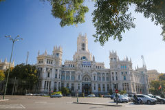Cybele Palace (Rathaus) an der Piazza de Cibeles in Madrid Stockfoto