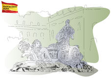 Cybele's Fountain in Madrid. Cibeles Fountain on the Square Cibeles in Madrid royalty free illustration