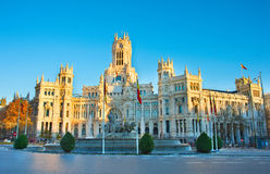 Cybele`s Square at sunset. Madrid Stock Photography