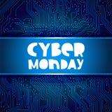 Cyber†Maandag ‹â€ ‹ Achtergrond van de krings de elektronische raad vector illustratie
