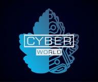 Cyber światowy liść z mikroukładem ilustracja wektor