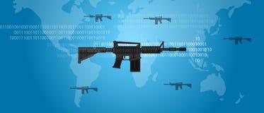 Cyber εχθροπραξίας έννοιας πυροβόλων όπλων ψηφιακό πυροβόλο επιθέσεων κώδικα παγκόσμιο στρατιωτικό Στοκ Εικόνες