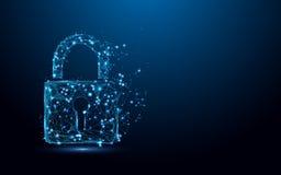 Cyber证券概念 锁从线和三角,在蓝色背景的点连接的网络的标志